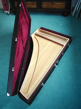 A view of the Cembalino in its travelling case